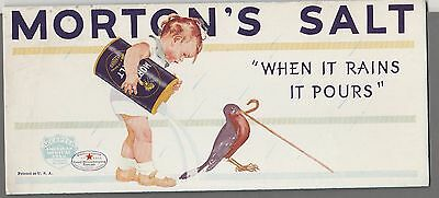 1940's Vintage Morton's Salt Ad of Child with Robin Bird Great INK BLOTTER Nice