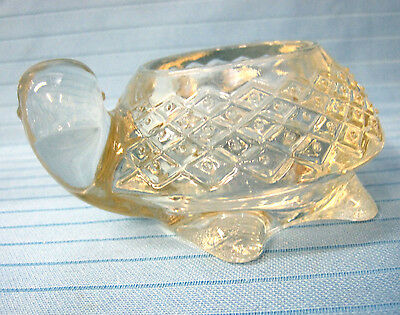 Turtle Sparkling Clear Pressed Glass Votive Candle Holder 1970's Avon