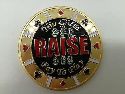 Golden YOU GOTTA RAISE Casino Poker Card Guard Cover Protector