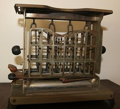 Antique Vintage Torrid Push Button Toaster With Unique Rare Swingout Holders