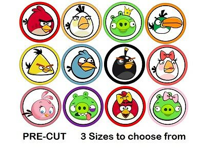 Angry Birds Edible Real Icing Cupcake Toppers PRE-CUT