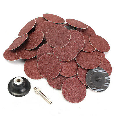 50 pcs 2' Roll Lock Type R Sanding Disc Roloc With Mandrel 60 Grit for