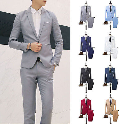 Men Formal Wedding Bridegroom Suit One Button Slim Jacket Tuxedos Coat Pants New