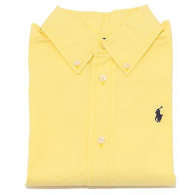 0719T camicia bimbo RALPH LAUREN cotone giallo shirt long sleeve kid