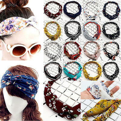 Women Girl Popular Yoga Elastic Floral Hair Band Headband Turban Twisted Knotted
