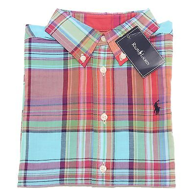 0757T camicia bimbo RALPH LAUREN quadri multicolor shirt long sleeve kid