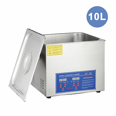 New Stainless Steel 10L Industry Heated Ultrasonic Cleaner Heater w/Timer