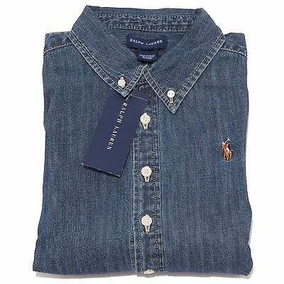 0715T camicia jeans bimbo RALPH LAUREN denim blu shirt long sleeve kid