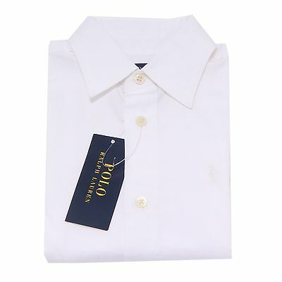 0639T camicia bimbo RALPH LAUREN bianco shirt long sleeve kid