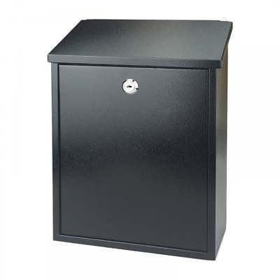 BLACK POST BOX LETTER Mail Box Outdoor Lockable Postbox Parcel Large with Keys