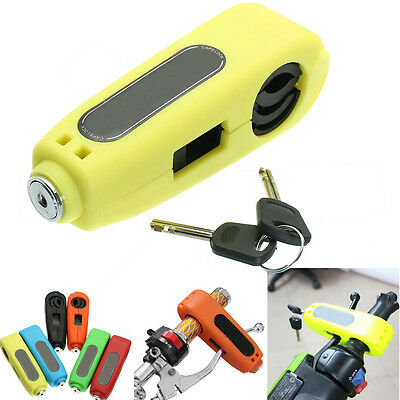 Motorcycle Caps-Lock Scooter Handlebar Brake Lever Grip Lock Security Yellow
