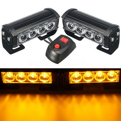 2x 12V Amber Yellow Flashing Emergency Strobe Grille Beacons Warning LED Lights