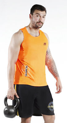 New Men's Top Vests Cotton Sleeveless T-Shirt Summer Training Gym Shirts Orange