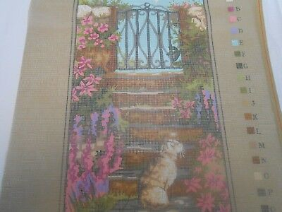 "Penelope  ""Garden Steps"" Printed Tapestry Canvas - includes 2 free wools"