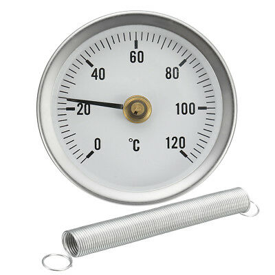 PIPE CLIP-ON DIAL THERMOMETER TEMPERATURE TEMP GAUGE & SPRING 63mm 0-120º C