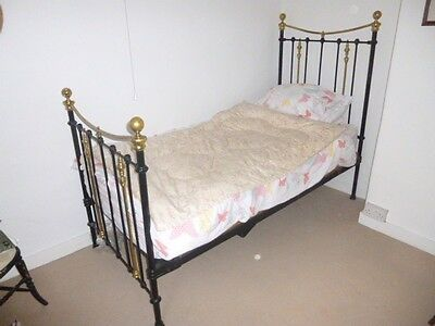 Pretty Victorian Iron and Brass Single Bed