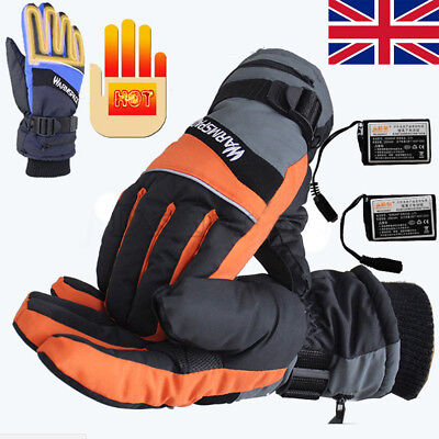 Outdoor Motorcycle Electric Heated Gloves Warmer Hands + 2 Rechargeable Battery