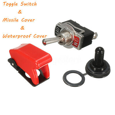 Heavy Duty Toggle Switch Flick ON/OFF Car Light SPST + Missile / Water Cover 12V