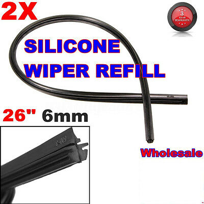 2x26'' Universal Car 6mm Silicone Cut to Size Repair Silicone Wiper Blade Refill
