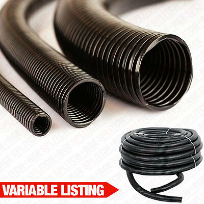 Black Conduit Split & Unsplit Tube Cable Convoluted Tubing Tidy Trunking Protect