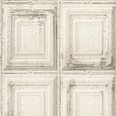 Distressed Wood Panel Wallpaper - White - Rasch 932614 New