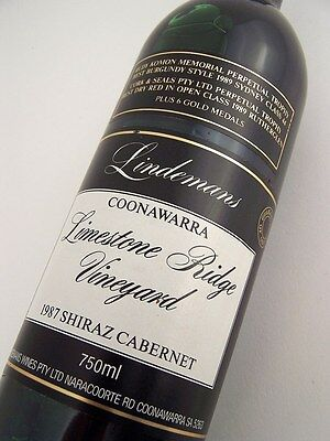 1987 LINDEMANS LIMESTONE RIDGE Shiraz Cabernet DD Isle of Wine