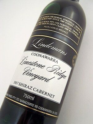 1987 LINDEMANS LIMESTONE RIDGE Shiraz Cabernet AA Isle of Wine