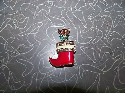 Vintage Cat in Santa Boot Christmas Brooch