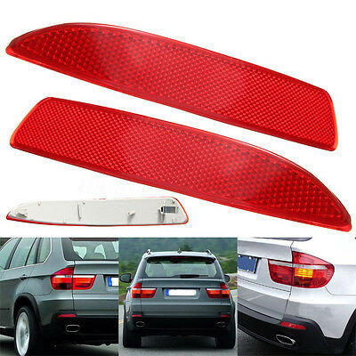 Pair Rear Red Bumper Reflector Light Set For BMW X5 E70 2007-2013 63217158950