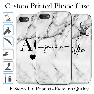 Personalised Grey Marble Black Initials Name Custom Gel Phone Case For Iphone