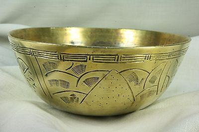 Cuenco chino cincelado. Latón. Chiselled Chinese bowl. Brass.
