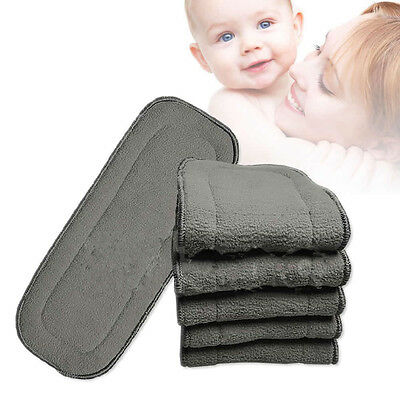 5 Layers Bamboo Fiber Charcoal Washable Reusable Diaper Nappie Insert Infant