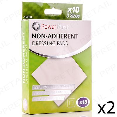 20 PACK NON-STICK WOUND DRESSING PADS Bandage Cushion Sterile Graze/Scrape Cover
