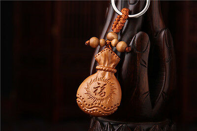 Wood 3D Carving Chinese Moneybag Wealth Statue Sculpture Pendant Key Chain