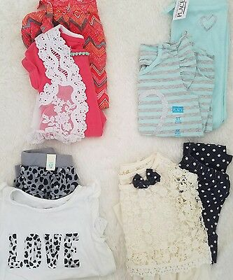 LOT OF 4 outfit sets girls 5 5t 6 pants tops skirts  childrens place pink blue