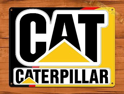 "TIN-UPS TIN SIGN ""Cat"" Caterpillar Two Tone Equipment Garage Vintage Wall Decor"