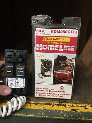 NEW SURPLUS Square D HOM250GFI 2 Pole 50A Ground Fault Circuit Breaker