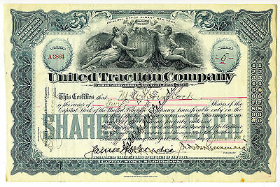 Albany, New York. UNITED TRACTION Co Stock Certificate - 1902
