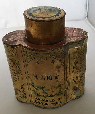 Antique Chinese Tin Quatrefoil Canister Wu Lung Tea Caddy Canister Metal Canton