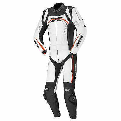 IXS Camaro 2-Piece Leather Motorcycle Suit White/Black/Safety Red Men's