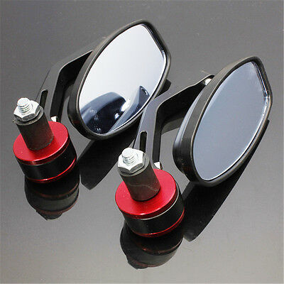 2x 7/8'' UNIVERSAL MOTORBIKE MOTORCYCLE HANDLE BAR END REARVIEW SIDE MIRRORS RED