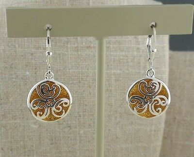Sterling Silver CELTIC Spiral Faerie Pool EARRINGS Keith Jack GOLD GILDING