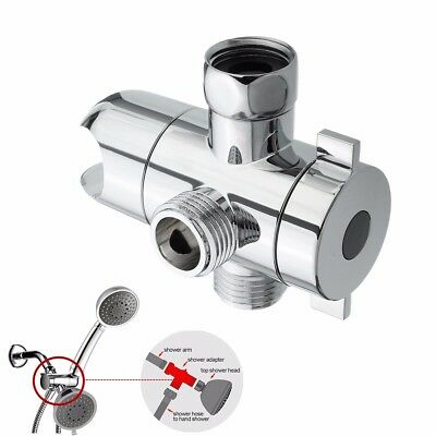 Chrome 3-Way Bath Shower Head Diverter Valve for Sprayer Faucet Tap T-Adapter