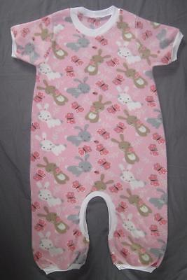 """ADULT Size Little BUNNIES 43"""" and 46"""" Soft Fleece DIAPER CHECK Romper, by LL"""