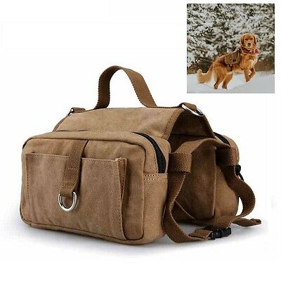 Canvas Dog Pack Hound Travel Camping Hiking Saddle Bag Backpack Rucksack Med Lar