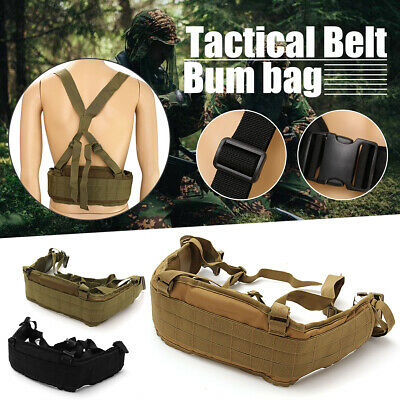 MOLLE Tactical Waist Soft Padded Belt With Suspender Webbing 600D Heavy Duty