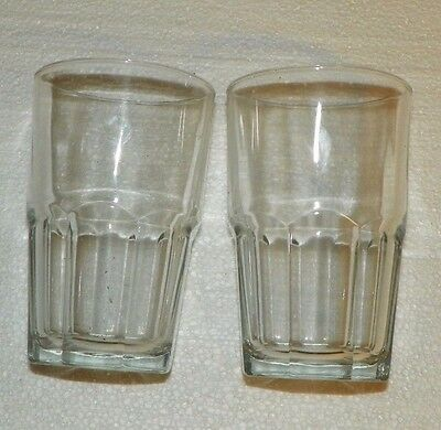 2 Piece Set Vintage Clear Glass Octogon Base Tumblers 5.5 Inch Tall