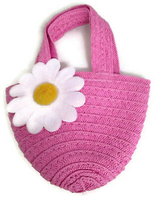 Pink Straw Bag Purse with Daisy Accent fits 18 inch American Girl Doll Clothes