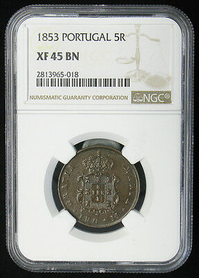 1853 Portugal 5 Reis NGC XF-45 for Mozambique colony 97,000 minted