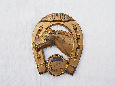 Vintage Cast Iron Good Luck Horse Shoe with Horse Painted Wall Hanging Plaque